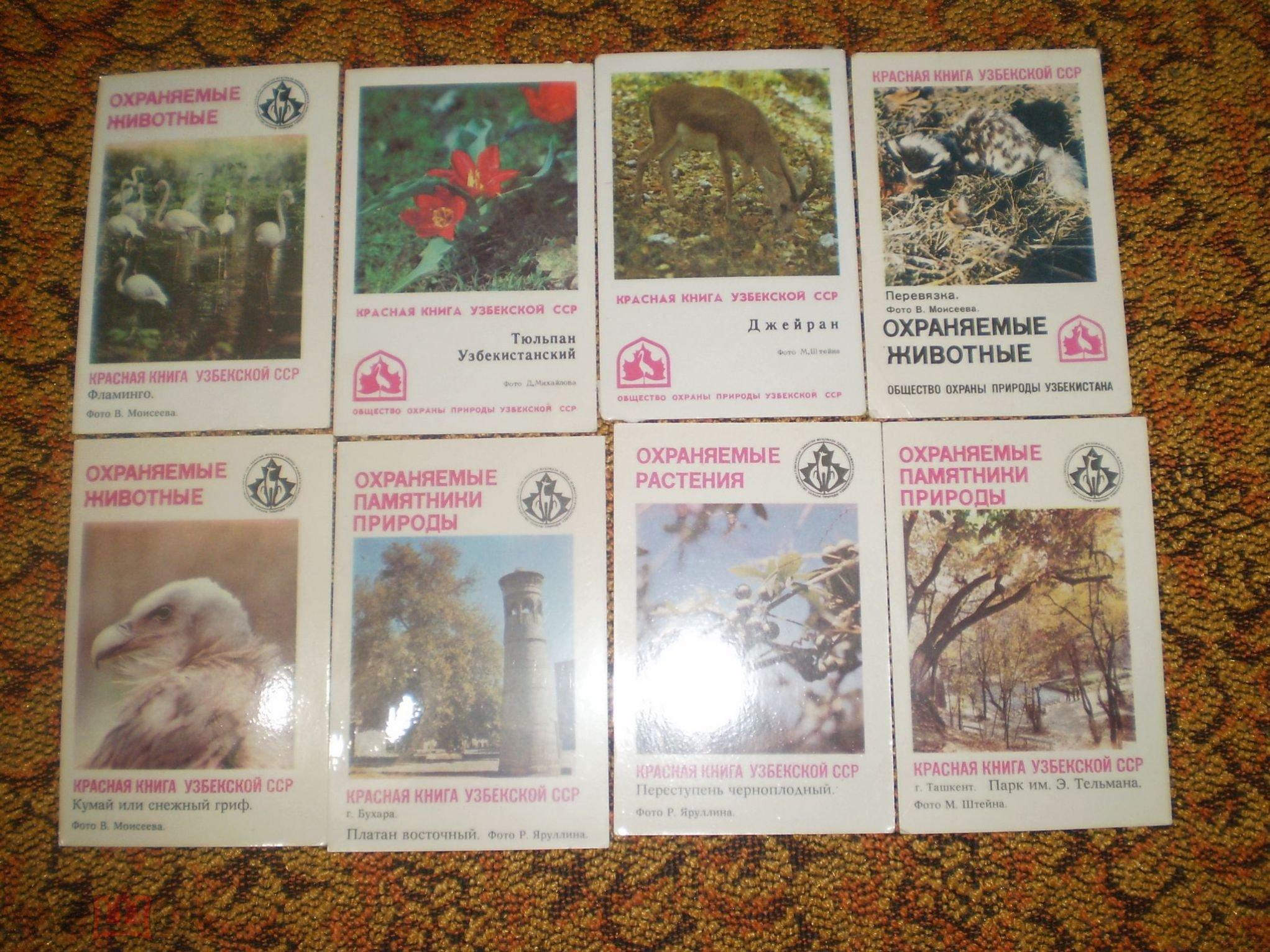 Карманные календарики СССР Красная книга Узбекской ССР 8 шт.