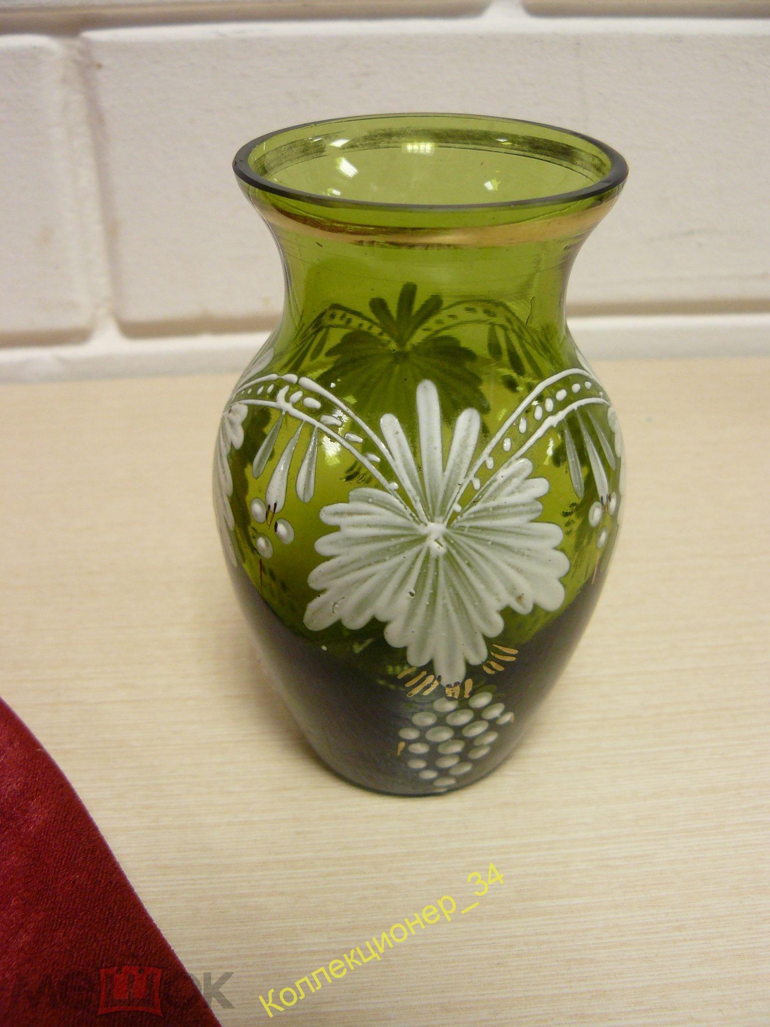 Миниатюрная красивая вазочка, цветное стекло, рельефное покрытие рисунка! 11см, СССР