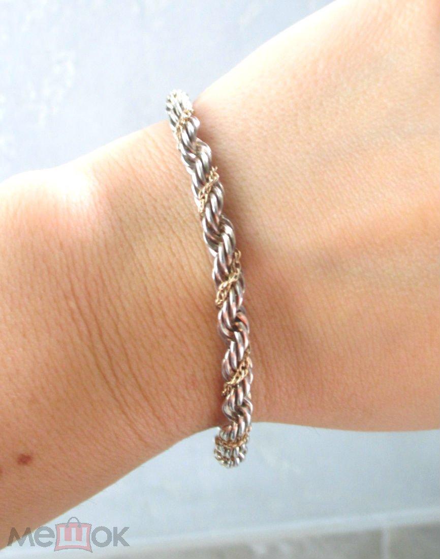 Tiffany   Co браслет золото серебро винтаж оригинал 15,5гр SALE! c79894876ac