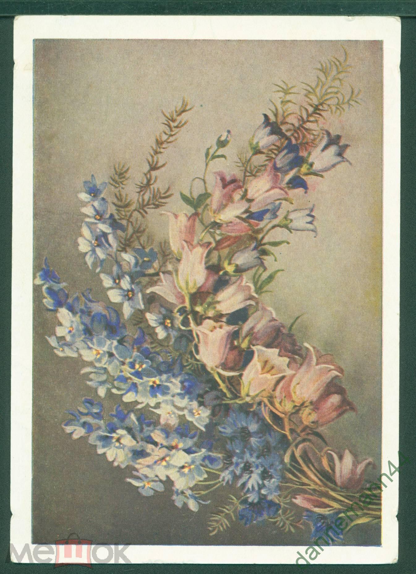 Открытка полевые цветы 1954 год