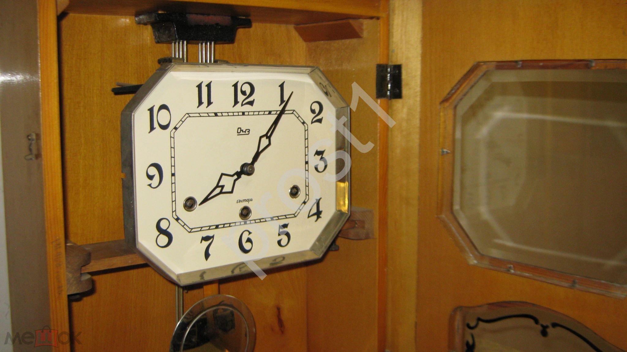 Настенные часы янтарь рычажки боя