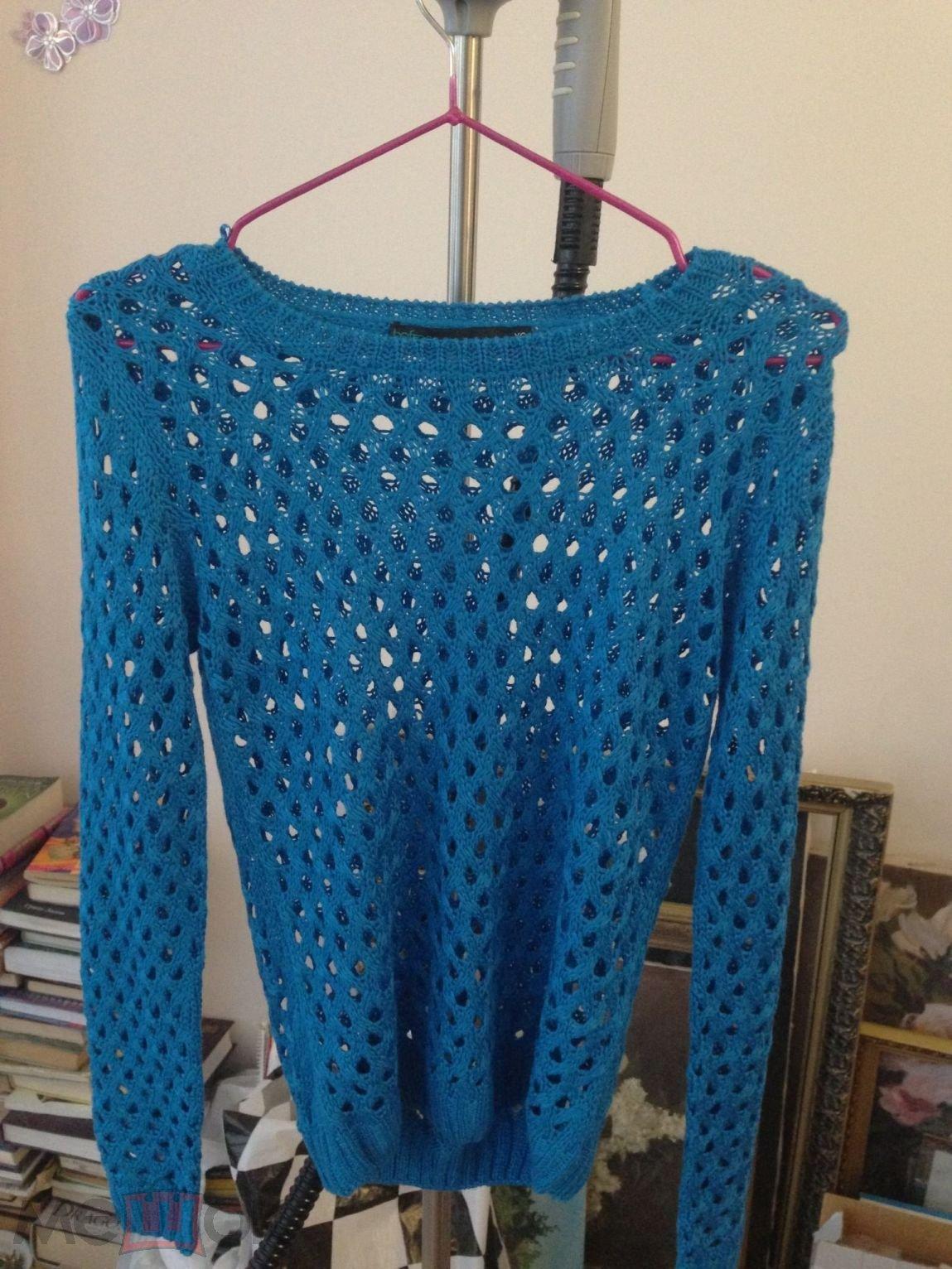 свитер женский модный сетка в дырочку голубой вязаный свитерок кофта