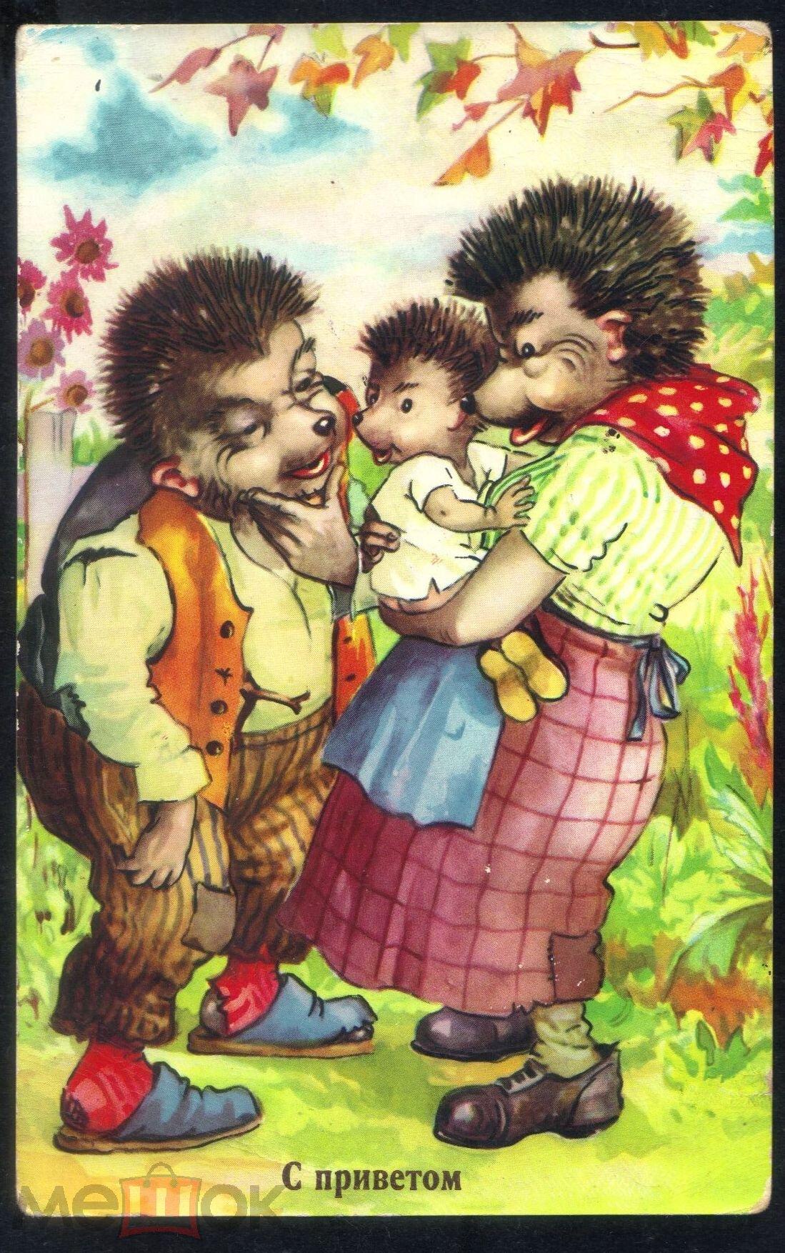 Картинки американские, советская открытка ежик
