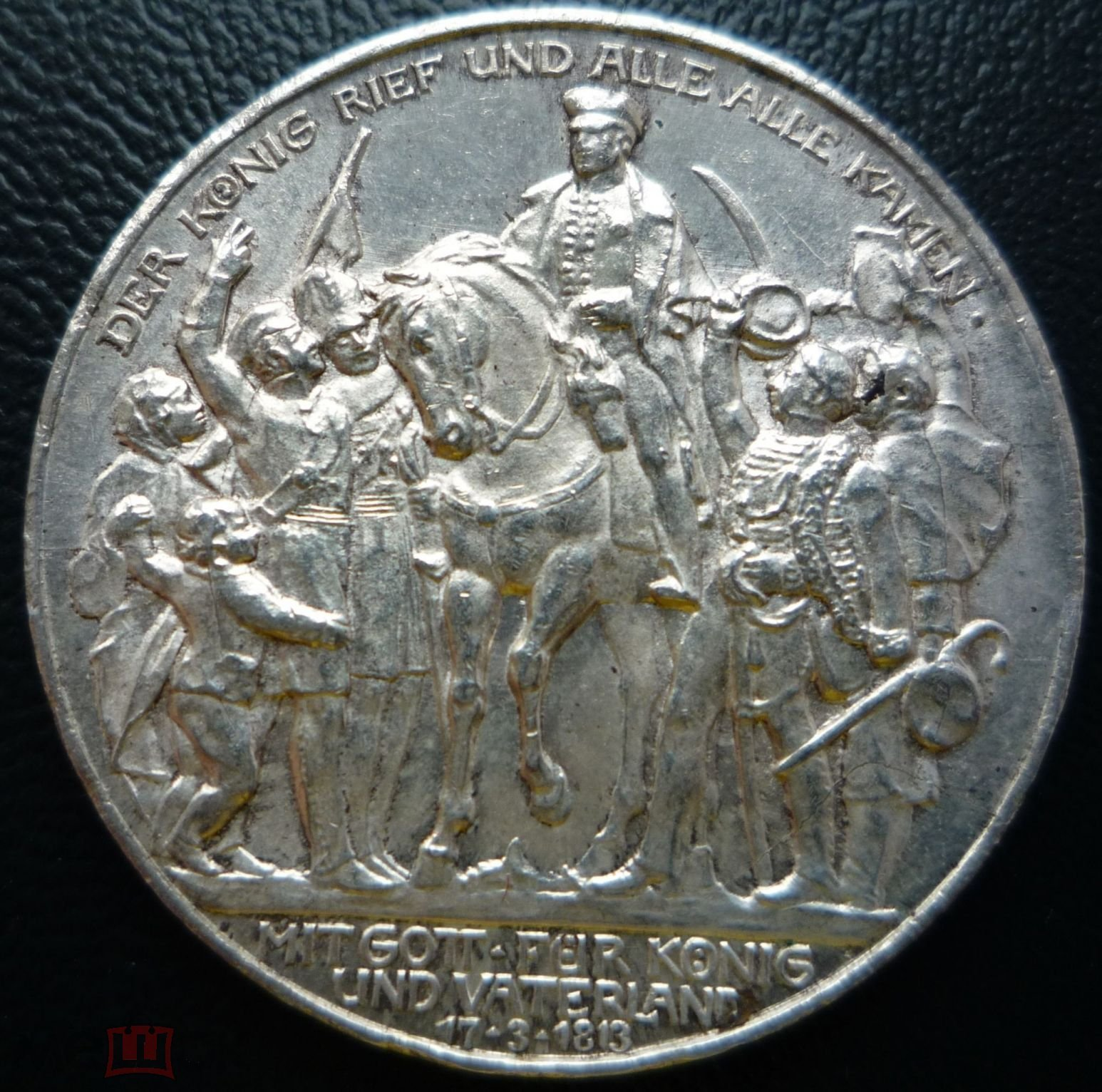Пруссия 3 марки 1913A 100 лет объявлению войны против Франции, Ag 0.9, вес 16,67 г