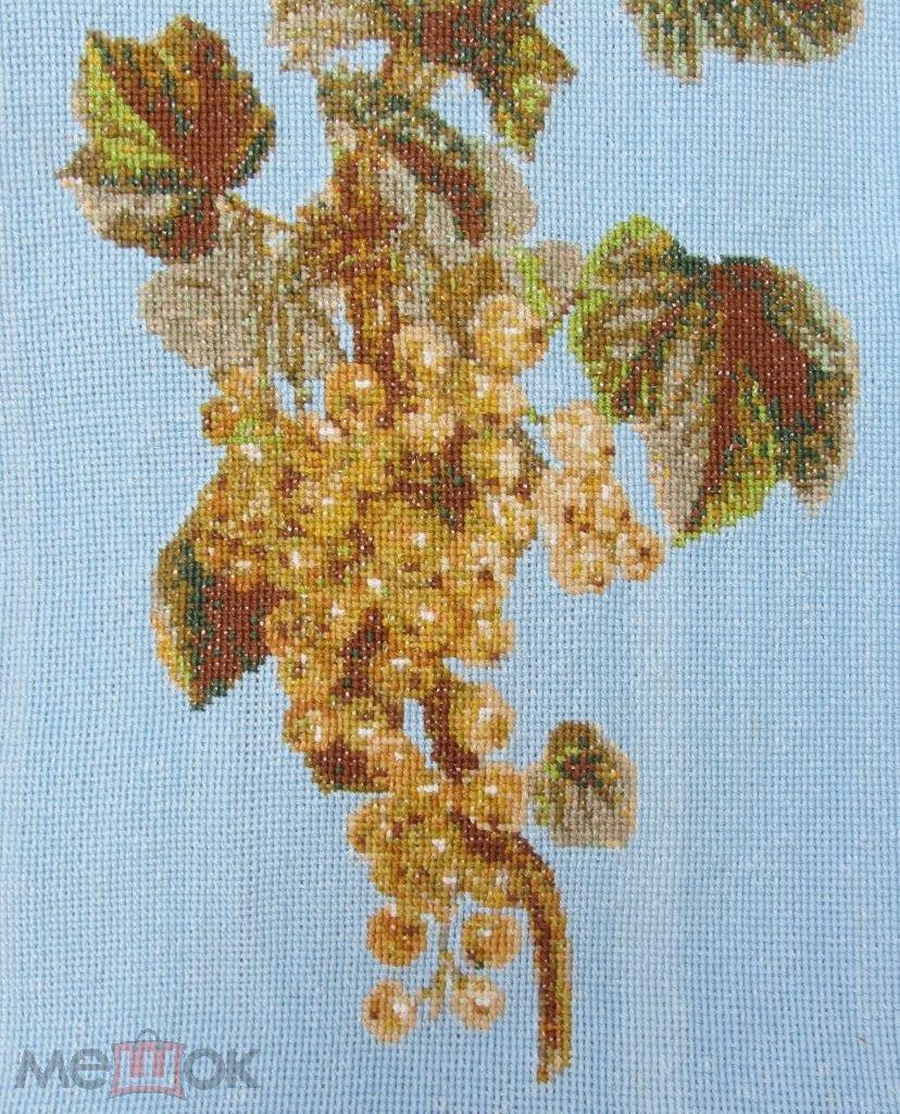 Ручная работа большая вышивка крестиком Картина Крестик крест Ягоды  Смородина Белая 9c84719faab97