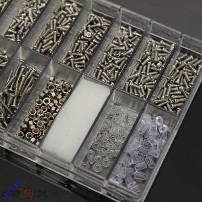 1000 винтов,гаек,шурупов для ремонта очков,планшетов,телефонов + отвёртка очки ноутбук телефон часы