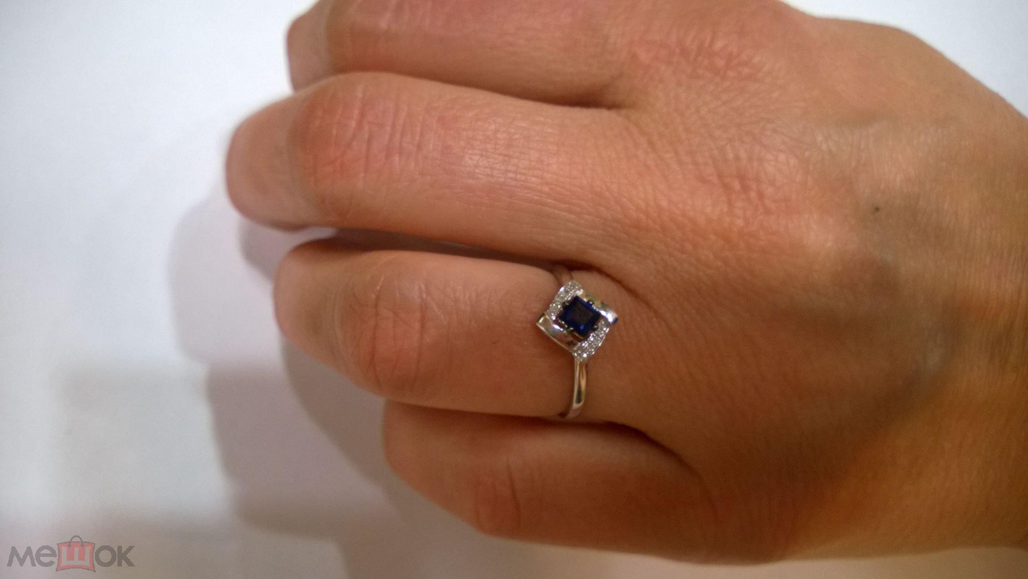 женское золотое кольцо из белого золота 585 пробы с сапфирами и ... 9a8cc447751