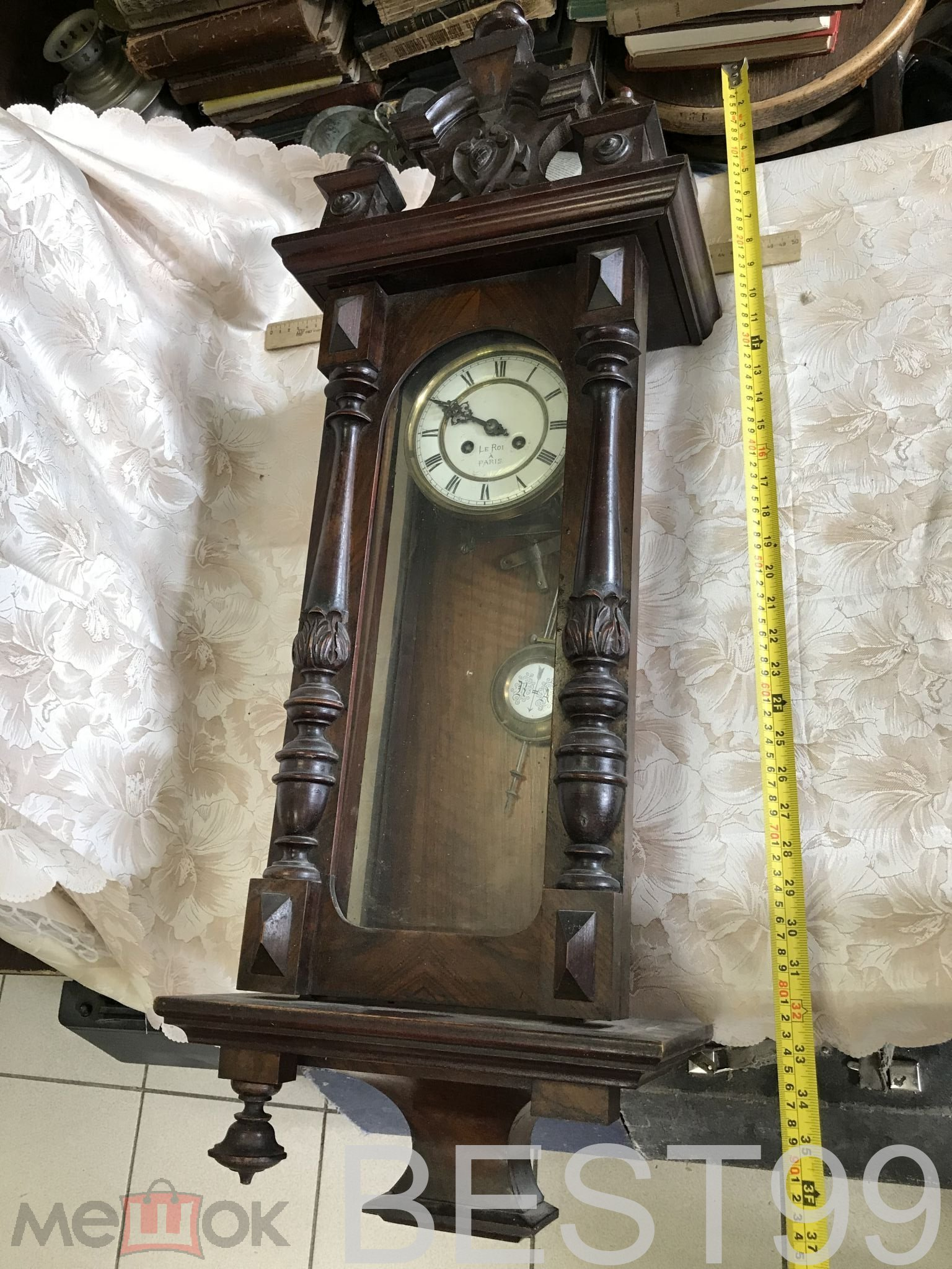 Старинные настенные часы le roi a paris.