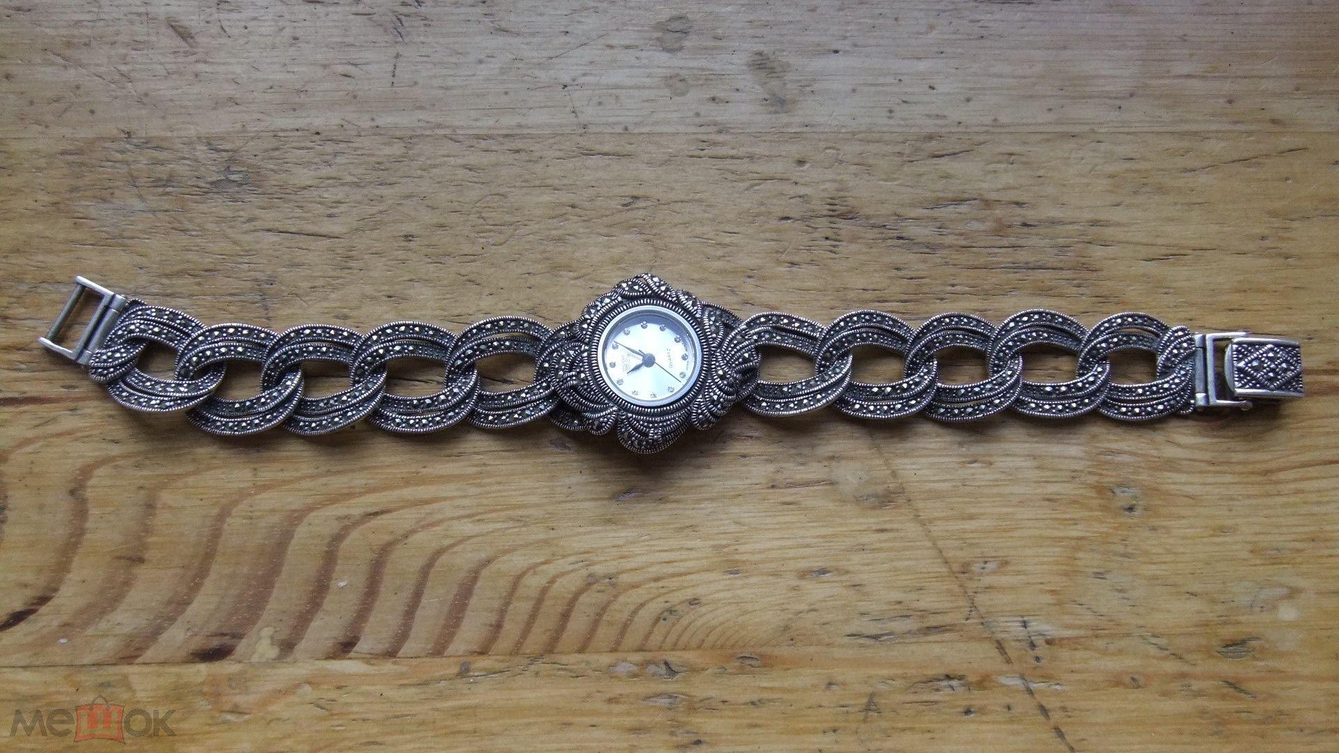 81e890fa Серебряные часы HF. Japan MOVT Quartz Марказит Серебро 925 проба ...
