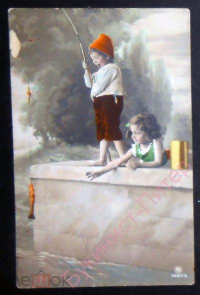 Открытка Дети рыбалка удочка. Дореволюционная, 1913 год, до 1917. Подписана. (17040о)