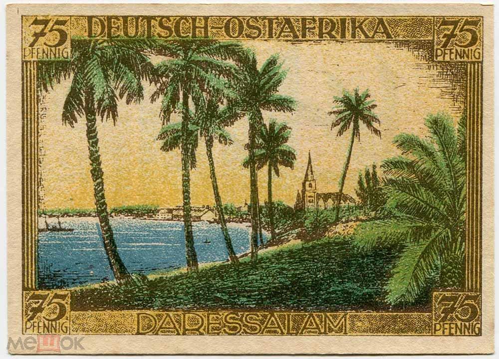 Германия Берлин 75 пфеннигов 1921 г. Германская Воcточная Африка (серия колонии) UNC-
