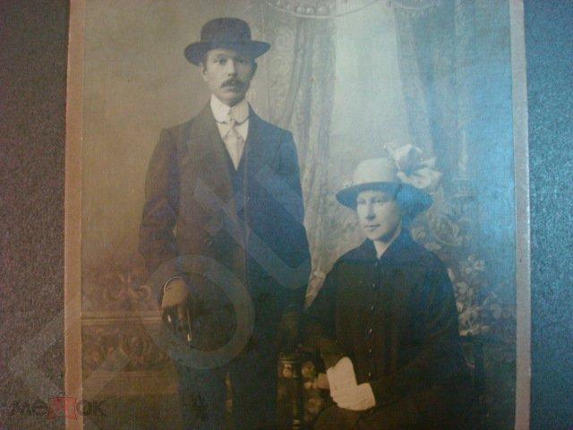 Фото Царская Россия Семейный портрет Семейная пара Мода Шляпа Пальто Перчатки Трость