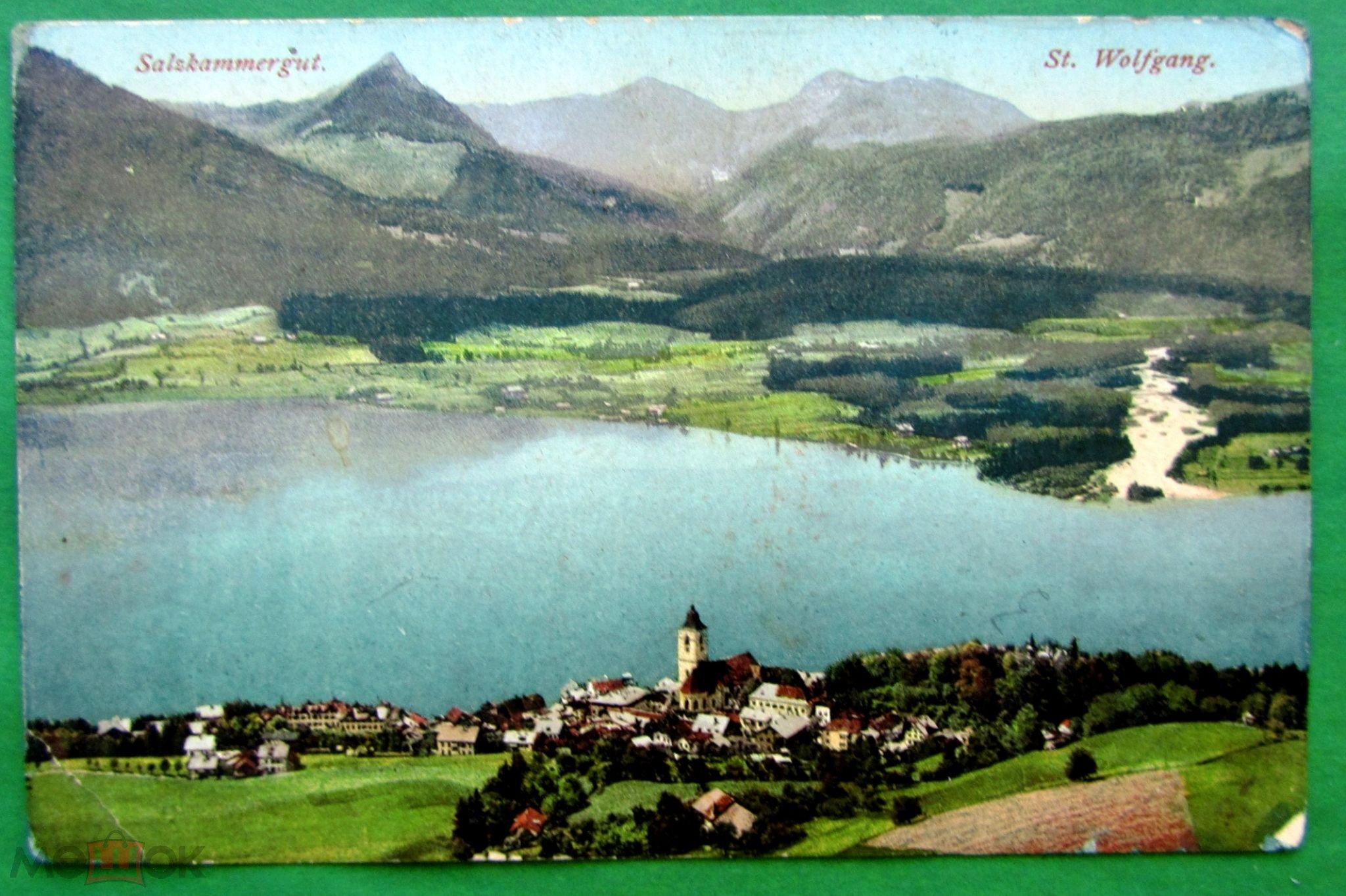 Старинная фотооткрытка Зальцкаммергут, Австрия Альпы Город Улица Озеро Горы Архитектура Европа
